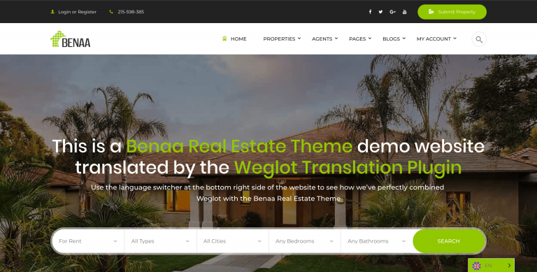 benaa theme wordpress translated weglot