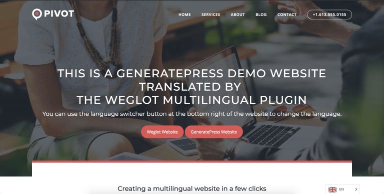 generatepress theme translated weglot