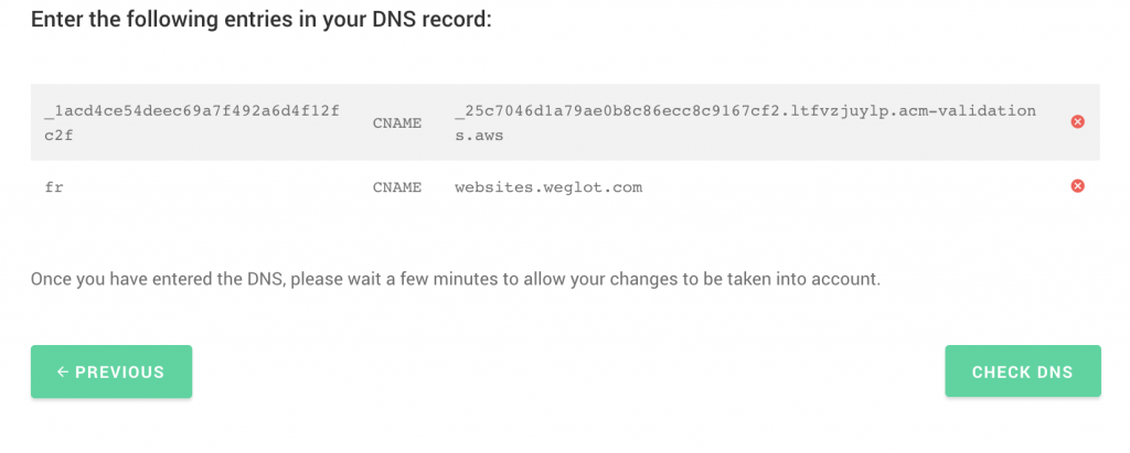 Translate WIx DNS record step