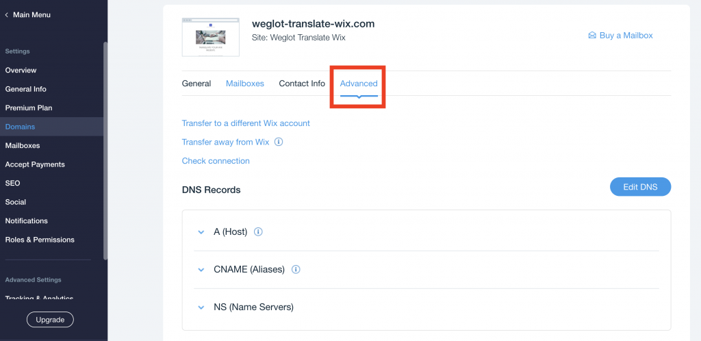Translate Wix Advanced DNS