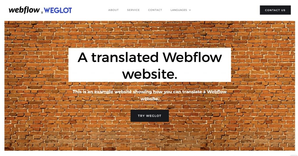 Webflow demo website translated