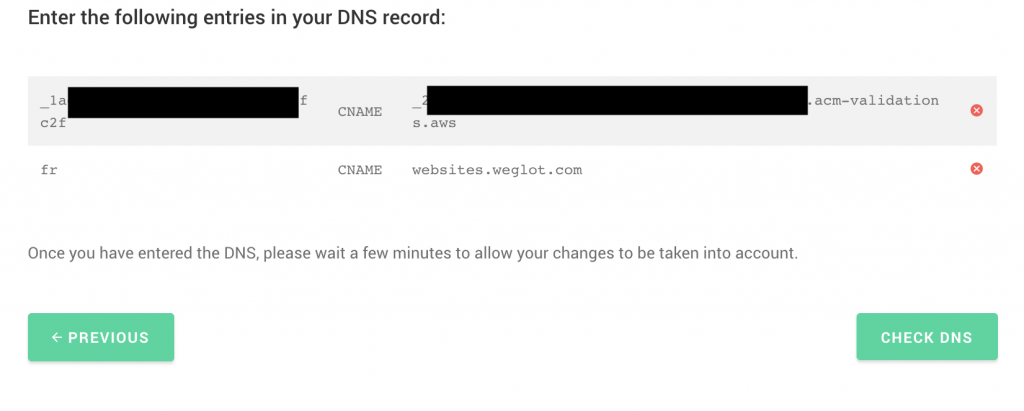 Translate Webflow DNS record step