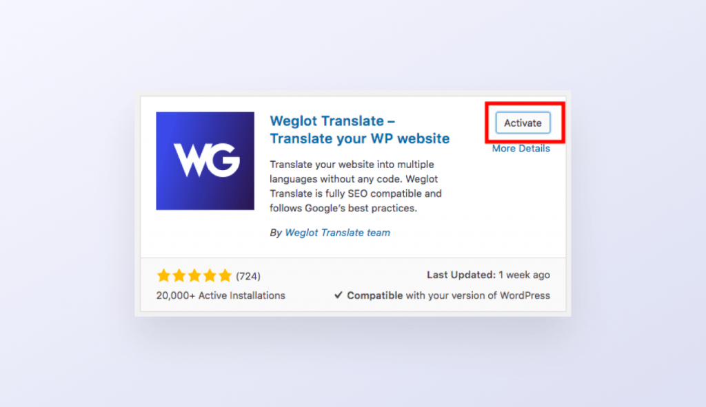Weglot wordpress guide d'installation activé