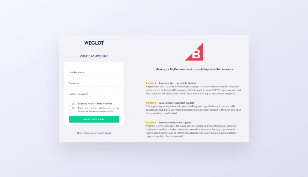 weglot bigcommerce setup create account