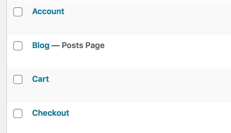 static pages woocommerce