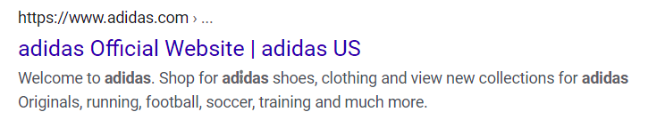 Google search result from the United States for Adidas' official website