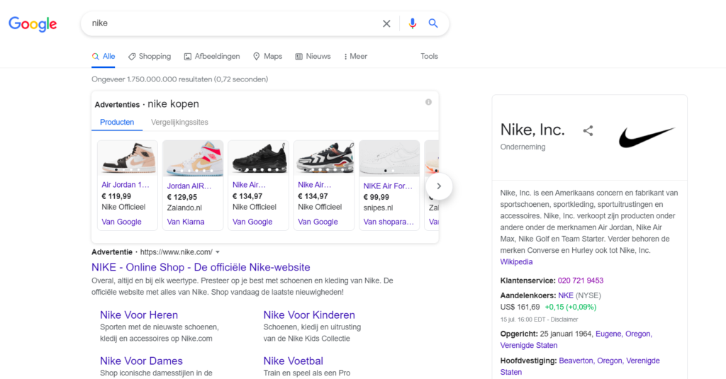 Search results for 'nike' when using Google with your location set to Netherlands